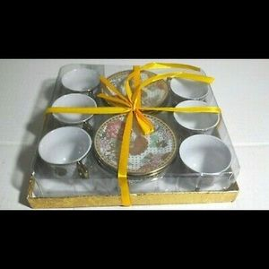 Chinese Ceramic Floral Tea Cups & Saucers Set
